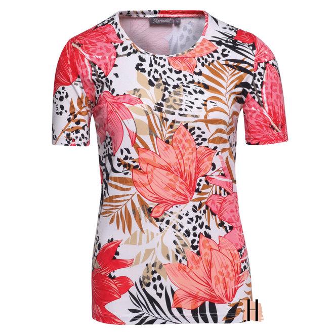 T-Shirt met Oranje Roze Bloemenprint