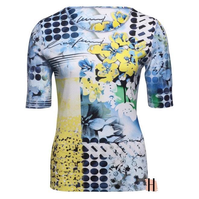 T-Shirt met Gedrukt Blauw Geel Dessin