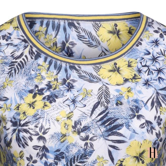 T-Shirt met Bloem Dessin en Sportieve Bies