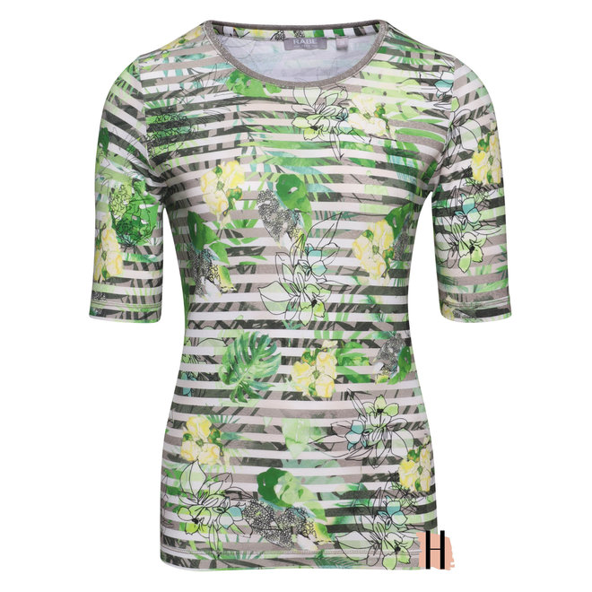 T-Shirt Kaki Groene Bloemen
