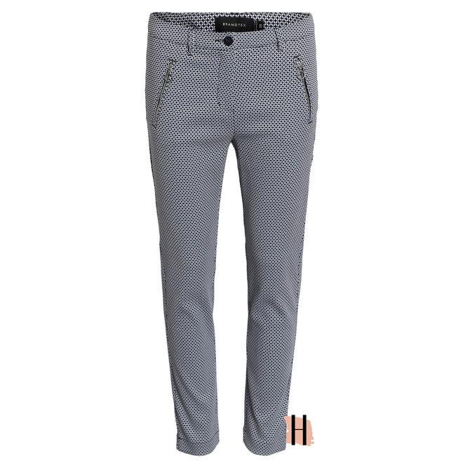 Stretch Pantalon met Ecru Marine Dessin