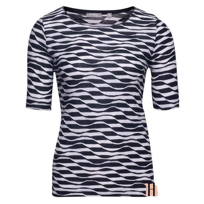 T-Shirt met Gestreept Patroon en Golfstructuur