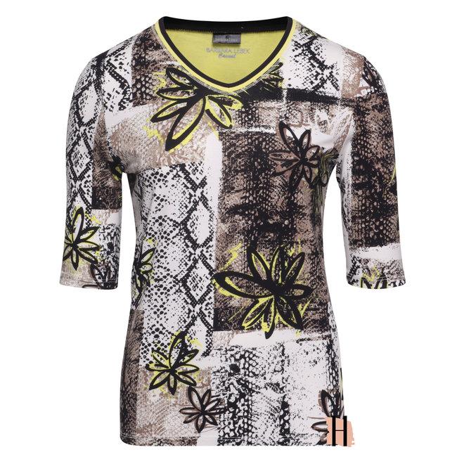T-Shirt in Zand en Neon Geel met V-Hals