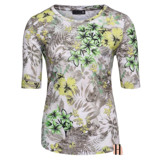 Zacht  T-Shirt met Frisse Groen en Gele Bloemen