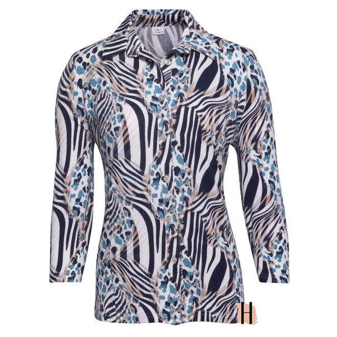 Doorknoop Blouse met Jeans Blauwe Zebraprint