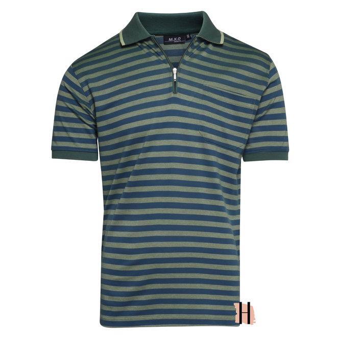 Heren Polo Blauw Groen Gestreept