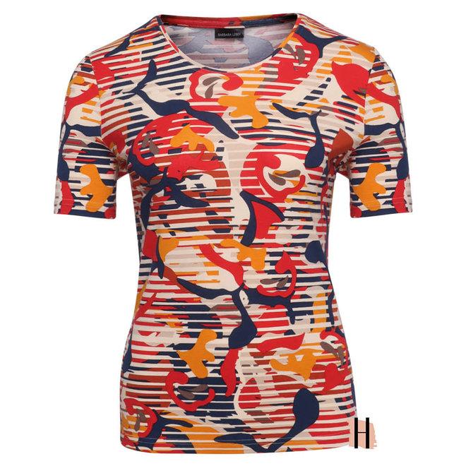 Shirt met Terra Cotta en Blauwe Tinten