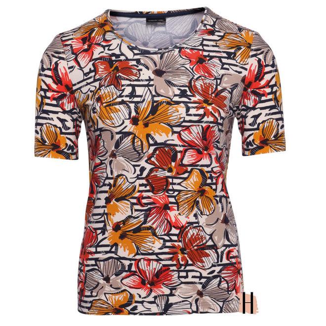 T-Shirt met Oranje en Rode Bloemen