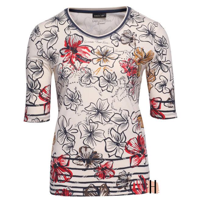 T-Shirt in Panna Cotta en Marine Kleuren