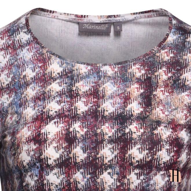 Shirt met Jeanskleurige Print en 3/4 Mouw
