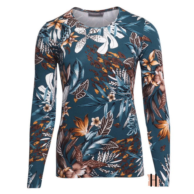 Shirt in Petrol met Bloemen en Aardetinten