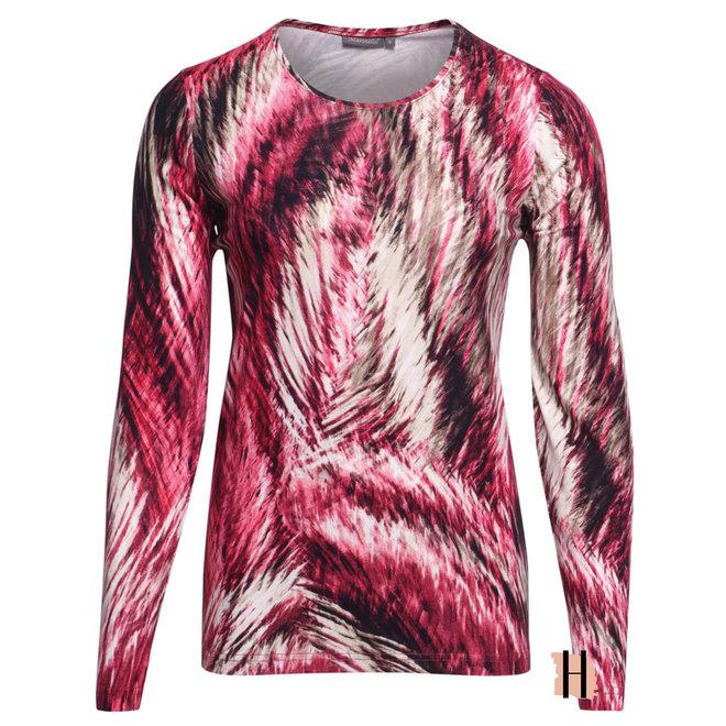 Shirt Elastische Fit in Magenta en Zand Kleuren