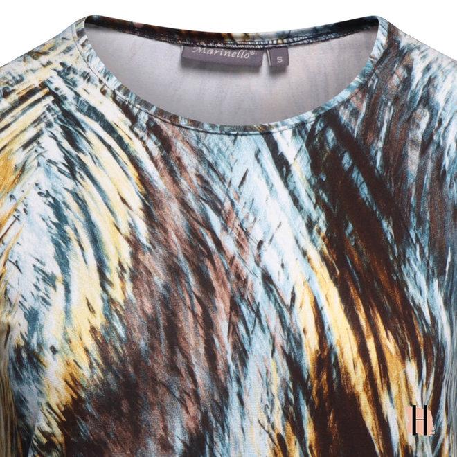 Shirt Elastische Fit in Zeegroen en Mosterd Kleuren