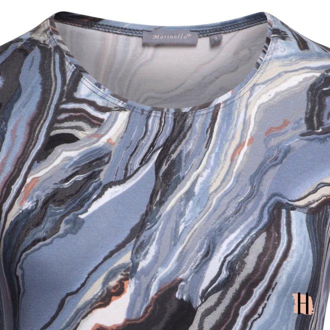 Soepel Shirt in Zacht Blauwe Marble Print