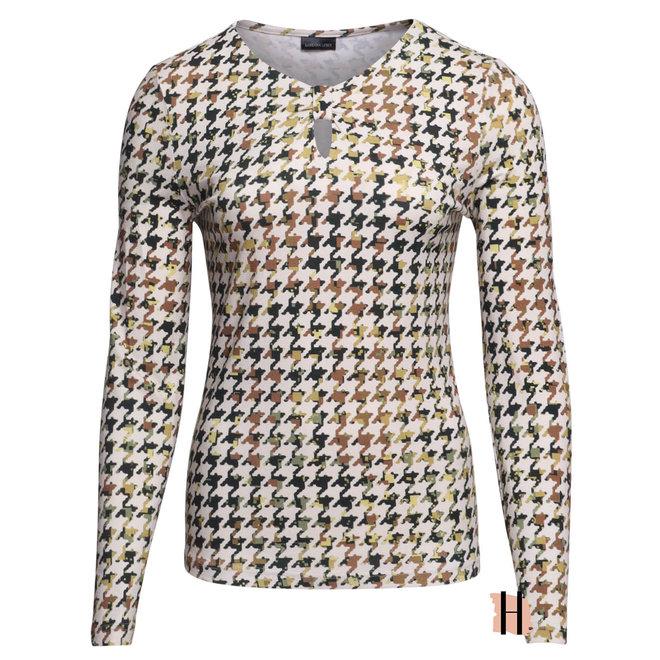 Shirt met Halsdetail en Groun Pied de Poule Dessin