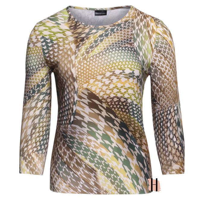 Shirt met 3/4 Mouwen en Groene All-Over Print
