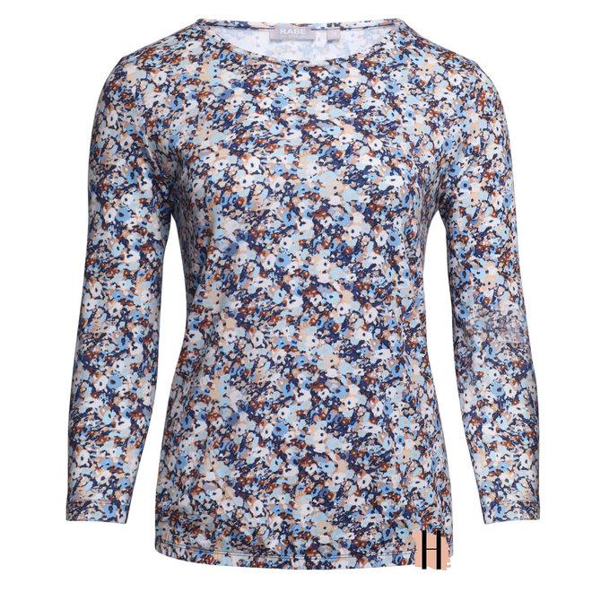 Shirt met Bloemen in Bruin en Blauw