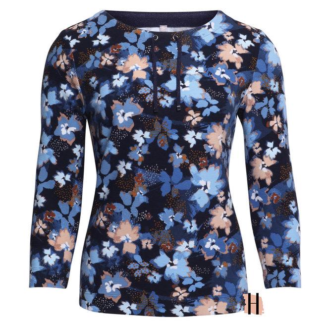Warm Shirt van Katoen met Bloemen en Rijgkoord 47-114351