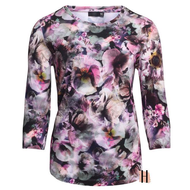 Shirt met Fleurige Print in Roze Tinten 47-513350