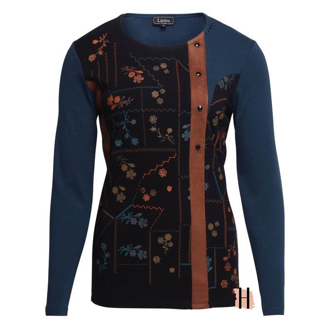 Shirt met Kunstsuède en Gedetailleerde Voorkant Blauw