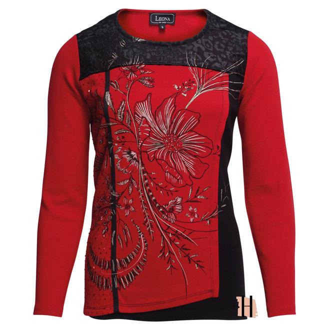 Rood Shirt met Gedetailleerde Voorpand