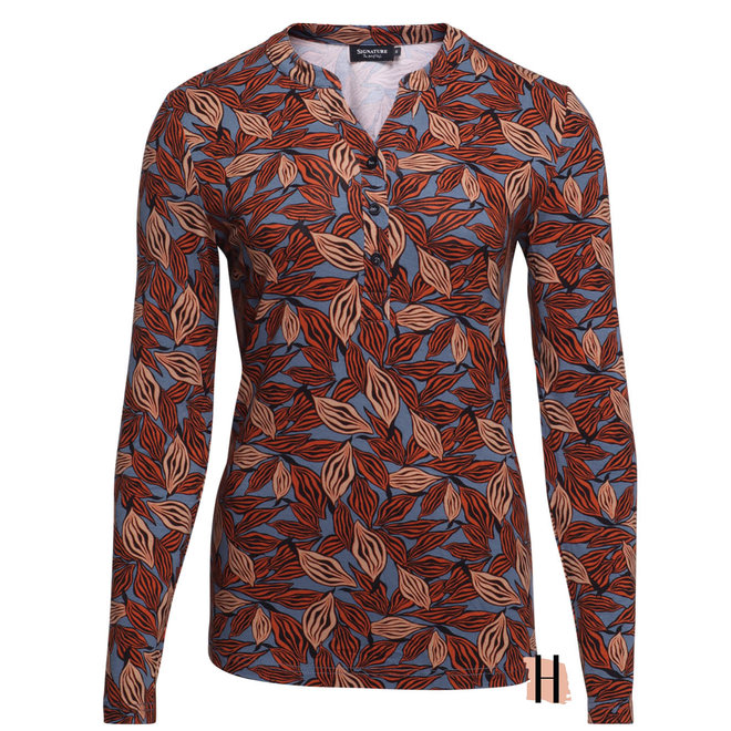 Shirt met Knoopjes en Herfsttinten 211878