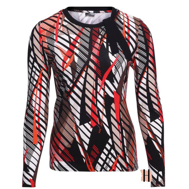 Shirt met Elegante Zwarte Strik op Hals