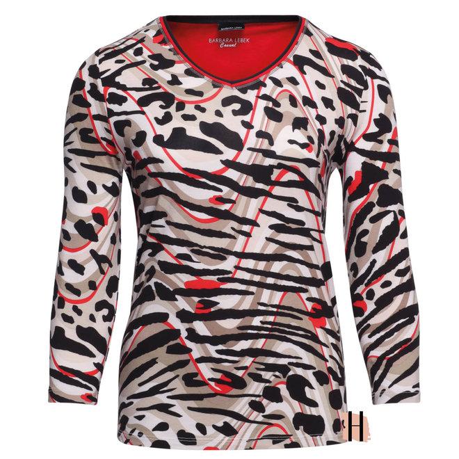 Shirt met All-Over Dierlijk Dessin en 3/4 Mouwen