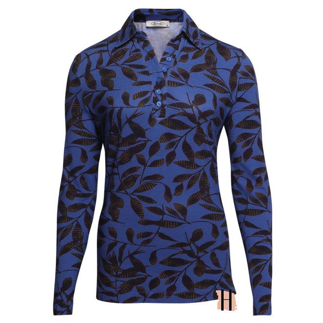 Poloshirt Kobalt Blauw Blaadje