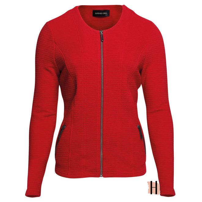Getailleerd Rood Vest met Rits en Structuur