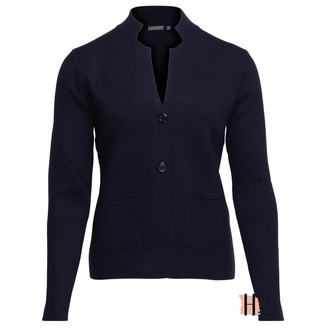 Donkerblauw Vest met Knopen en Opstaande Kraag