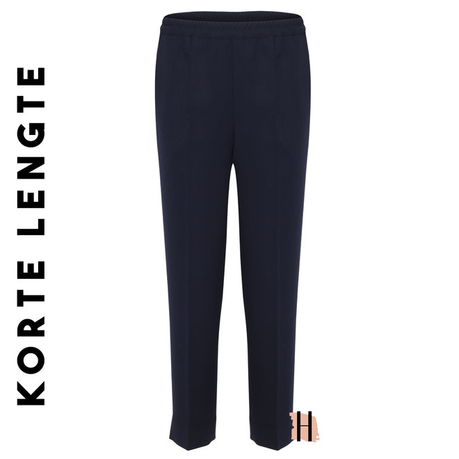 Pantalon Elastiek Viscose: Marine Blauw