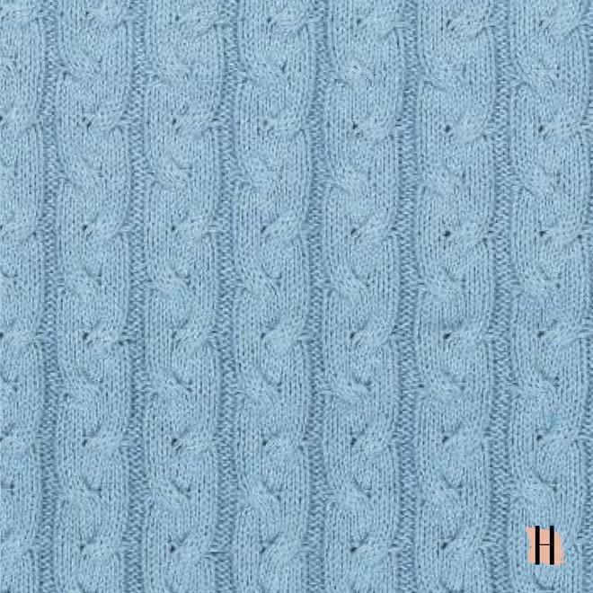 Lichtblauwe Kabeltrui 100% Katoen