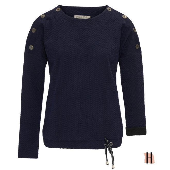 Sweatshirt Indigo met Knoopjes op Schouder