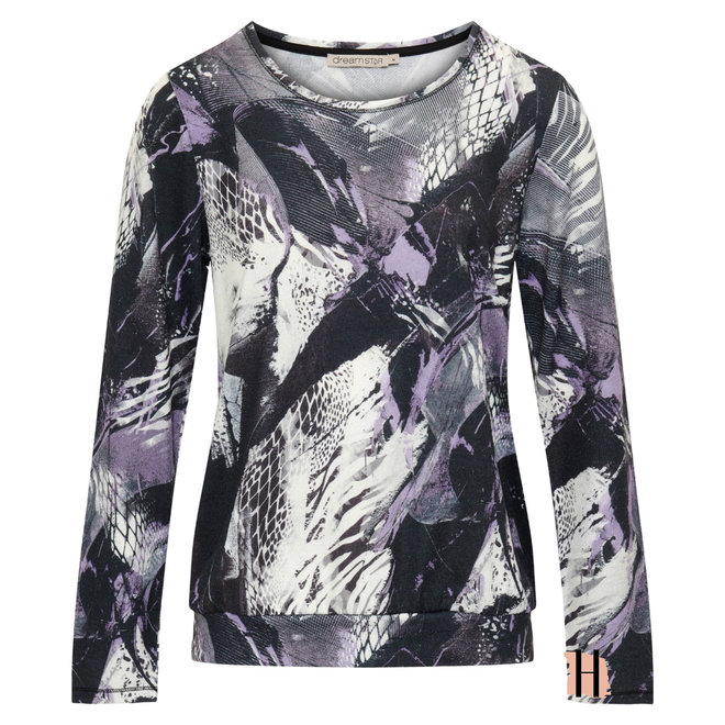 Blouson Shirt met Lange Mouwen en Grafisch Dessin Paars
