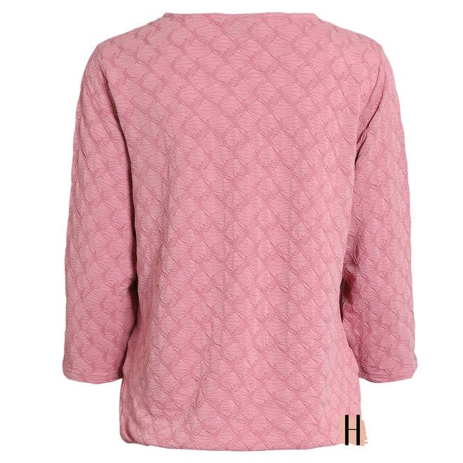 Roze Shirt met Structuur en 3/4 Mouw