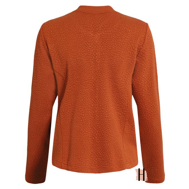 Vestjasje met Structuur en Ritszakjes in Warm Oranje