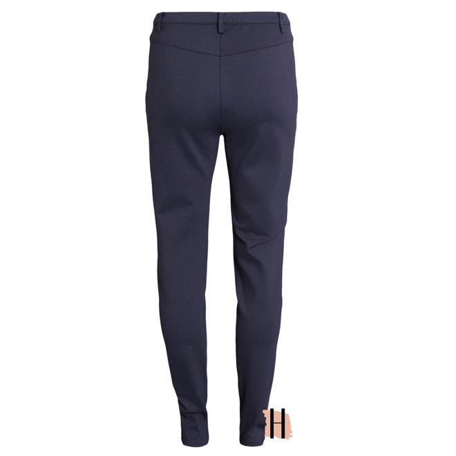 Stretch Pantalon met Knoopsluiting in Marine 212079 3730