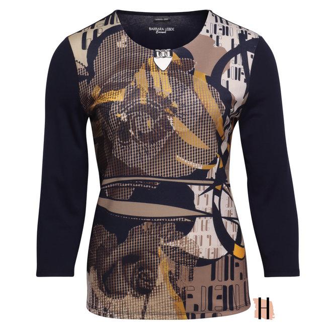 Shirt met Versierde Voorkant en Ketting Detail op Halslijn