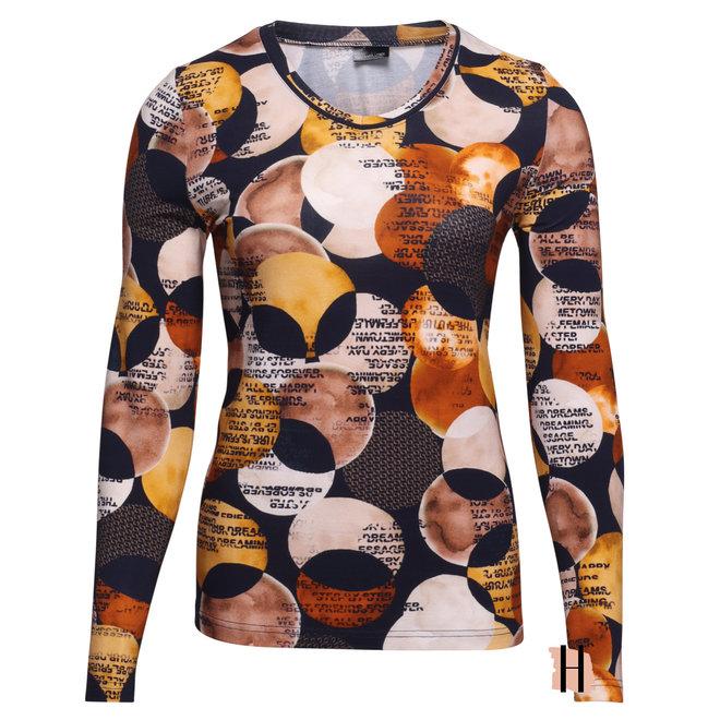 Shirt in Donkerblauwe en Warme Tinten