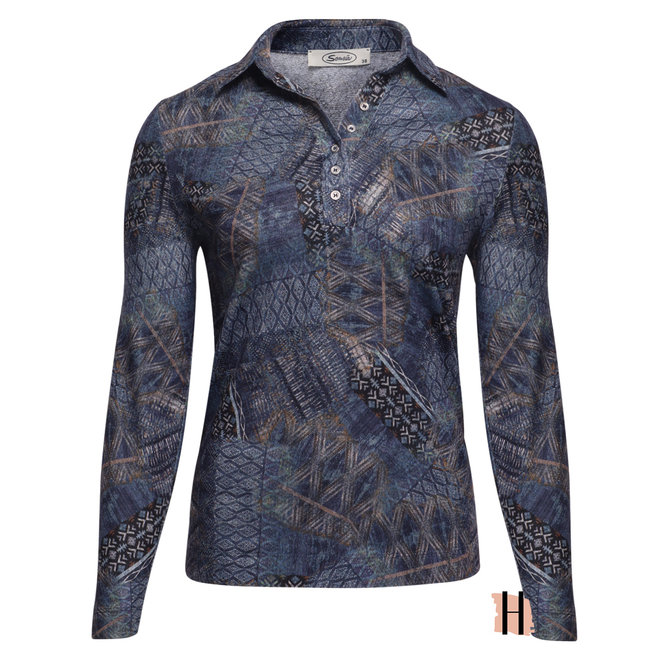 Poloshirt met Donkerblauw All-Over Patchwork Dessin