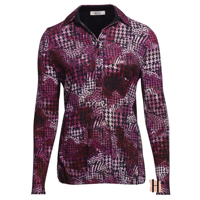 Blouson Poloshirt Donkerroze