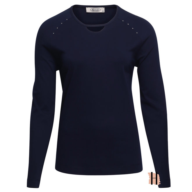 Shirt Marine Blauw met Studs en Halsdetail