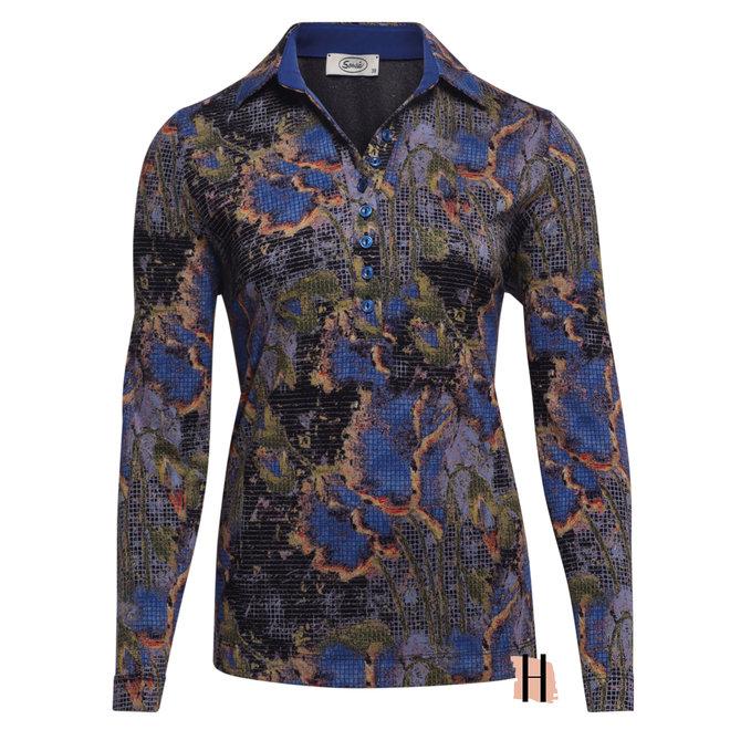 Polo Shirt met All-Over Dessin in Antraciet en Kobalt