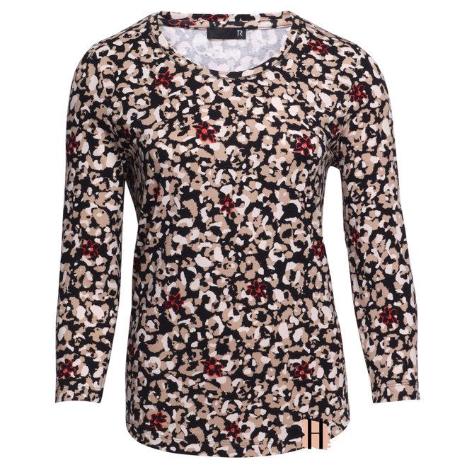 Shirt met All-Over Dierenprint en Rode Bloemetjes