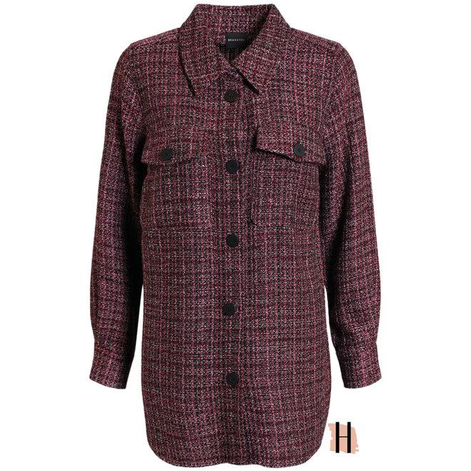 Tweed Jasje Donker Roze Zwart Half Lang Model