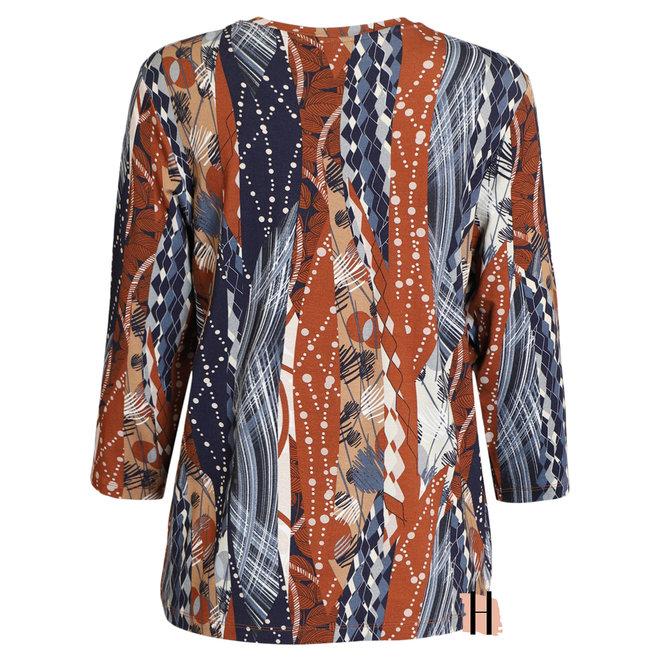 Shirt met Driekwarts Mouw Roest en Blauw