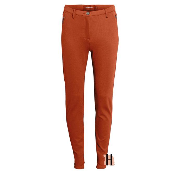 Stretch Pantalon met Knoopsluiting in Roest