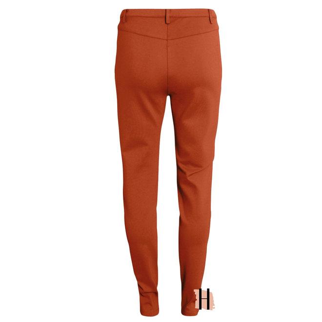 Stretch Pantalon met Knoopsluiting in Roest 212079 1328