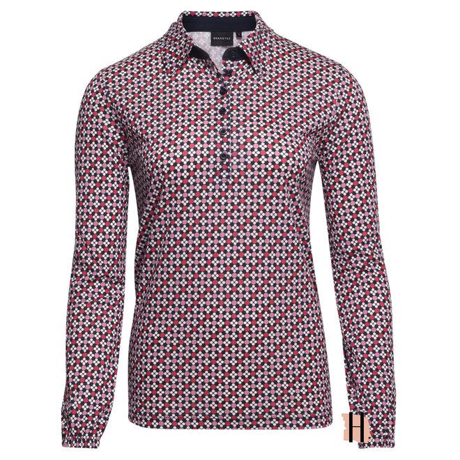 Poloshirt met All-Over Retro Dessin in Roze